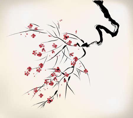 fleur cerisier: fleur de style d'encre