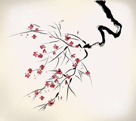 winter cherry: ink style blossom