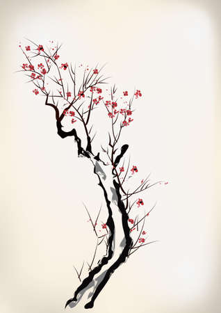 ink style blossom