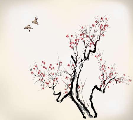 cereza: flor de estilo de la tinta