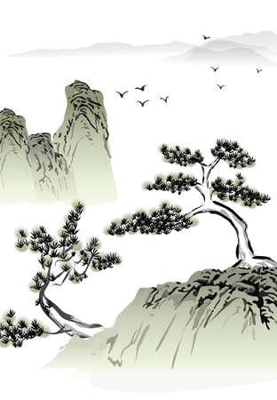 중국어 풍경 수묵화 일러스트