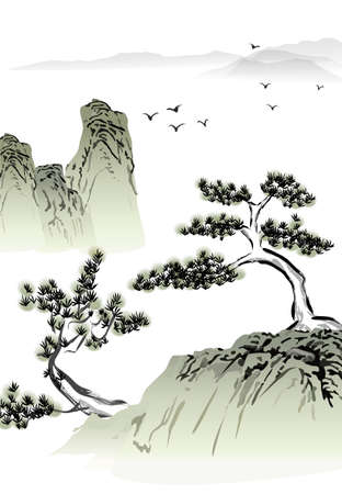 Chinese landscape ink painting  Vector