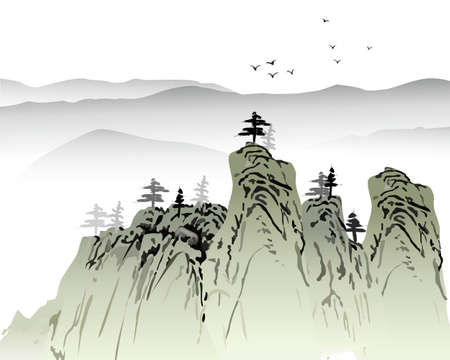 korean traditional: landscape painting