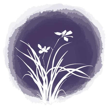 ink painting: ink drop flower