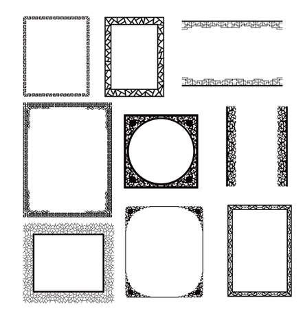 marco madera: marco asiático Vectores