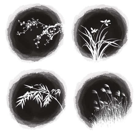 ink drop plants Vector