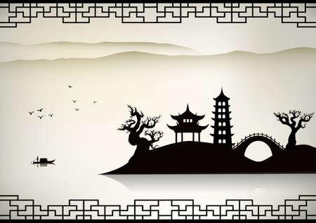 ponte giapponese: Panorama di Cina Vettoriali