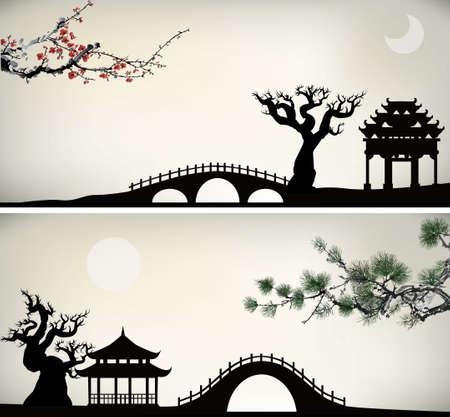 ponte giapponese: fondo asiatico