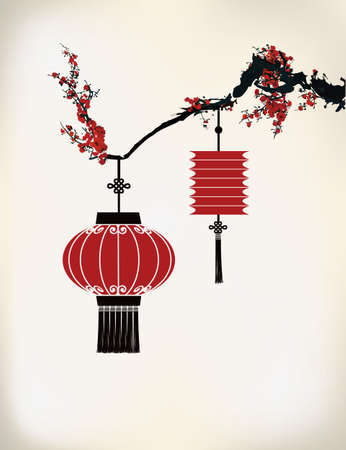 mid: Chinese Lantern hang on cherry tree Illustration