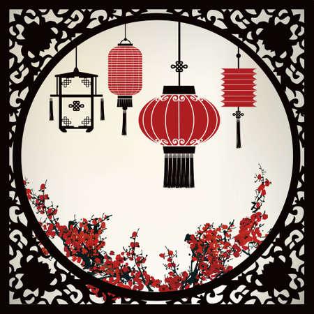祭: 中国のランタン  イラスト・ベクター素材