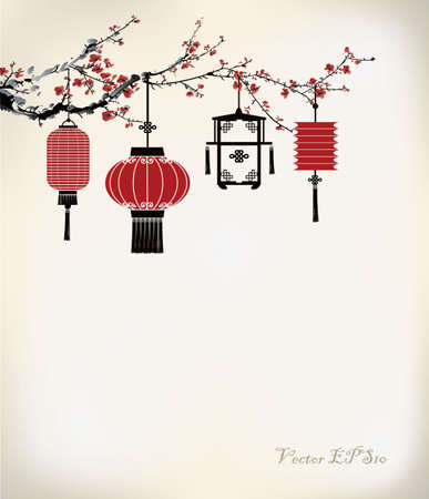 Chinese Lantern hang on cherry tree Illustration