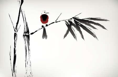 bambou: encre bambou peints Illustration