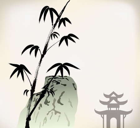 ink painted bamboo Vector
