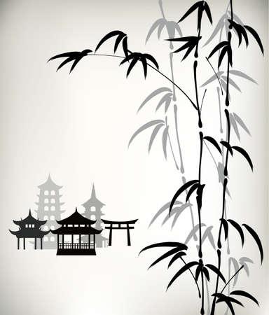Encre bambou peints Banque d'images - 33384994