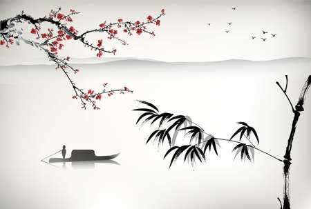 Chinese landscape painting Vettoriali