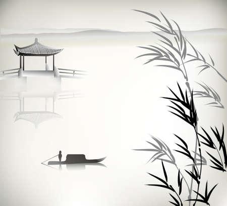 landscape painting: Chinese landscape painting Illustration
