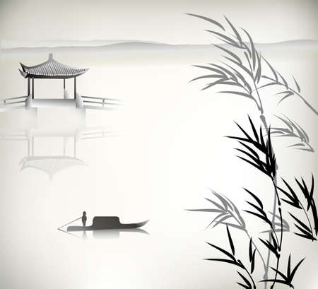 Chinese landscape painting Stock Illustratie
