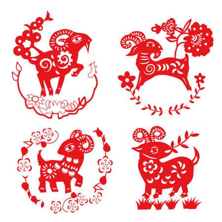 sheep paper cut Ilustração