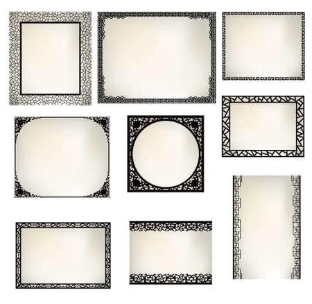 asian frame Ilustrace