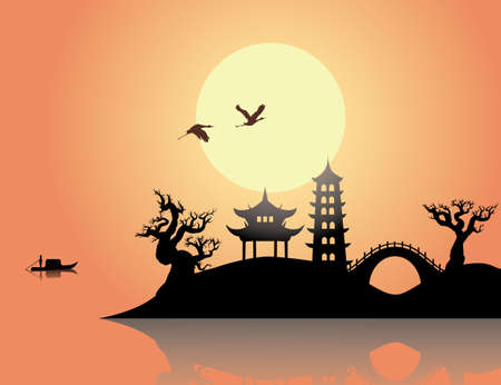 asian: China sunset Illustration