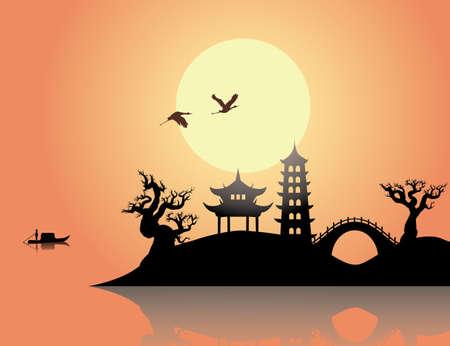 China sunset Illustration
