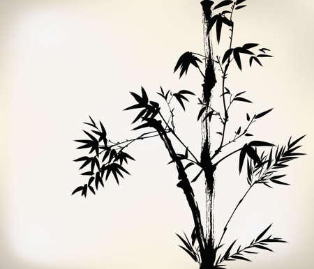 japones bambu: bamb� pintado tinta Vectores