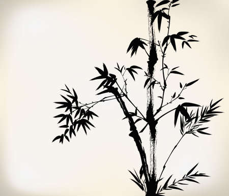 chinese watercolor: ink painted bamboo