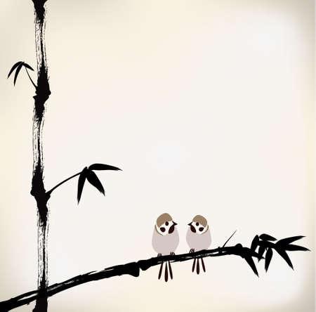 잉크 그린 대나무와 새