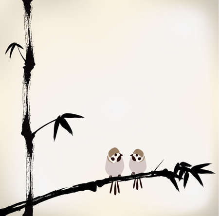 ink painted bamboo and bird