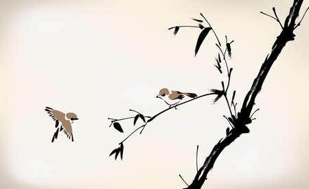japones bambu: tinta pintado de bamb� y el p�jaro