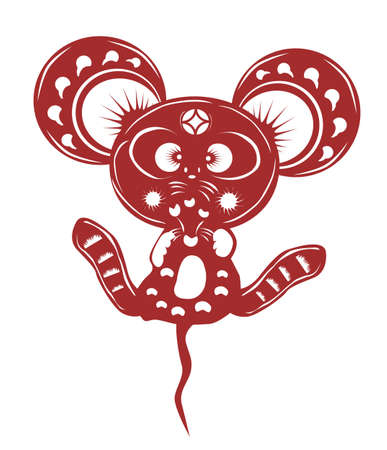 year of the rat: cartoon mouse paper cut
