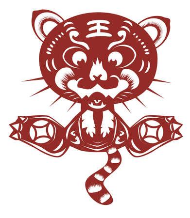 cut paper: cartoon tiger paper cut