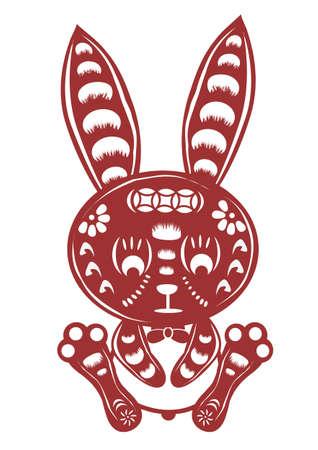 asian bunny: cartoon rabbit paper cut