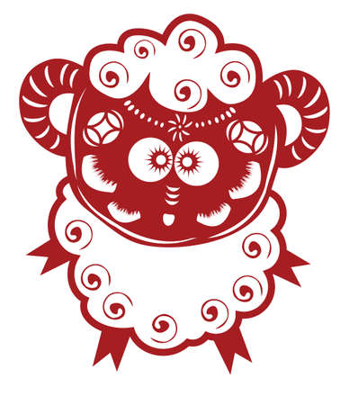 chinese astrology: Chinese cartoon sheep paper cut