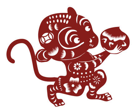 chinese astrology: cartoon monkey paper cut Illustration