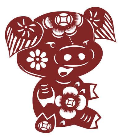 cut paper: Chinese cartoon pig paper cut
