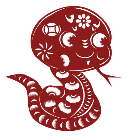 cut paper: Chinese cartoon snake paper cut