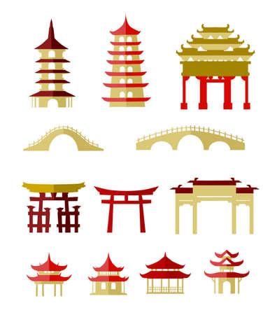 중국 전통 건물 일러스트