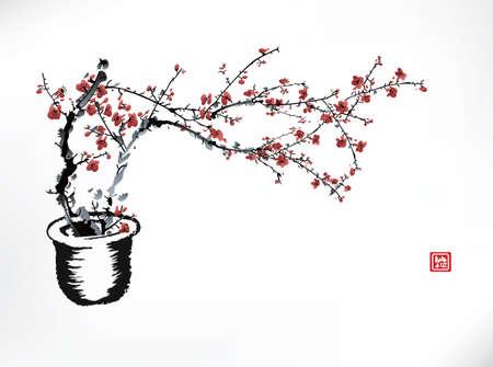cherry bolssom pot, ink painting Illustration