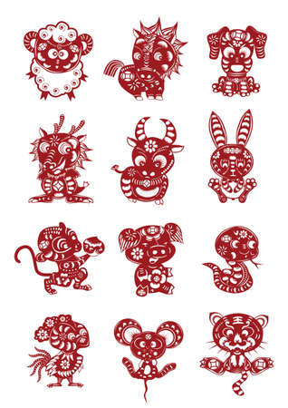 cartoon snake: chinese style of zodiacs paper cutting