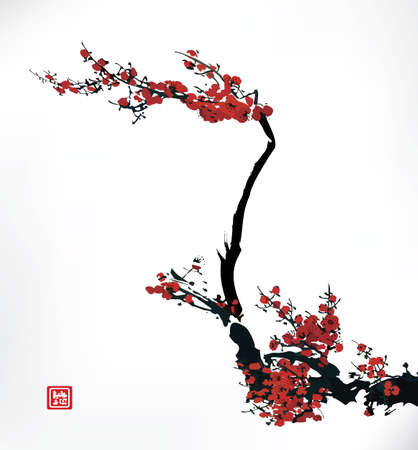 oriental: cherry blossom, ink painting