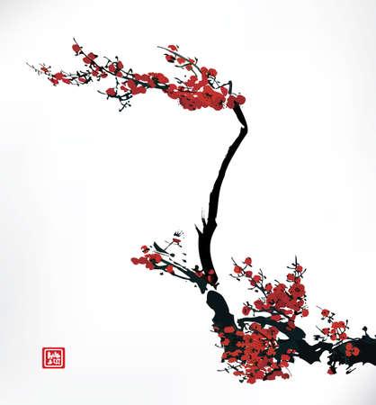 kersenbloesem, inkt schilderij Stock Illustratie