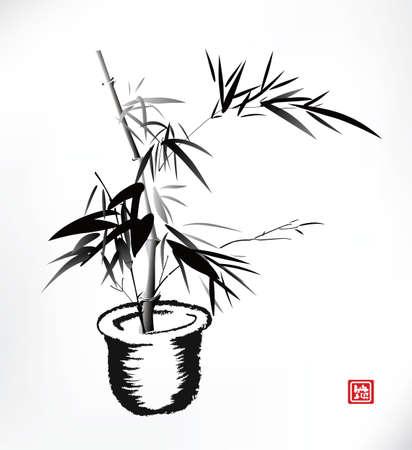 pot leaf: bamboo pot, ink painting Illustration
