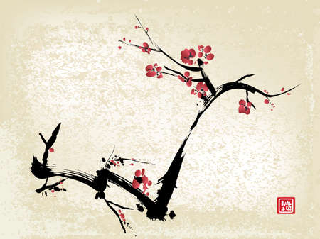 ink art: cherry blossom, ink painting