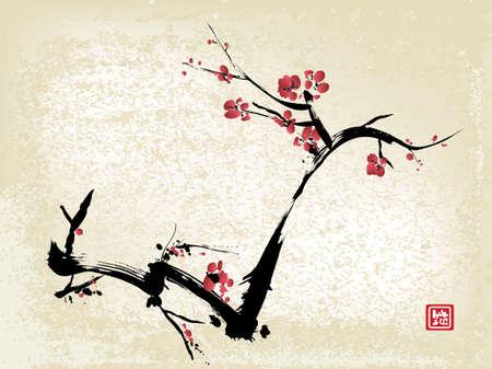 cereza: flor de cerezo, pintura de tinta