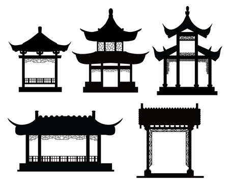 Chinese traditionele paviljoens Stock Illustratie