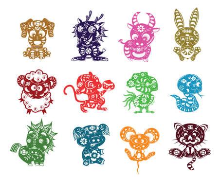 chinese 12 animals paper cut Illustration