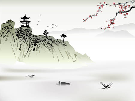 river vector: Chinese landscape painting Illustration
