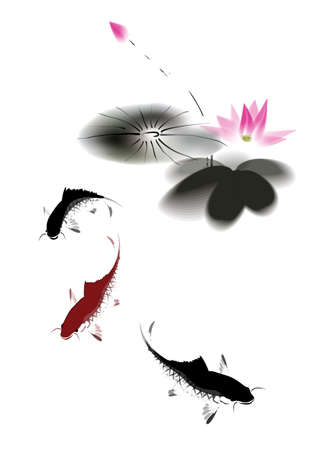 chinese watercolor: black and red carp and lotus