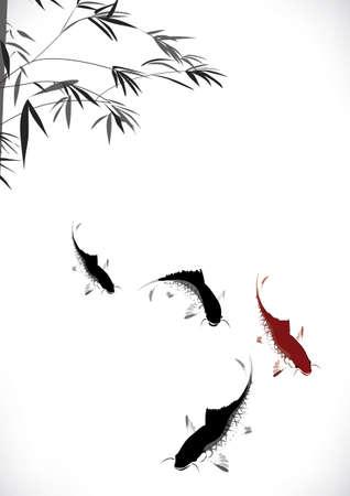 peinture: noir et rouge la carpe et le bambou